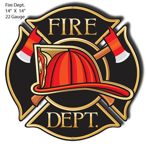 Fire Dept. Laser Cut Out Wall Art Metal Sign 14x14