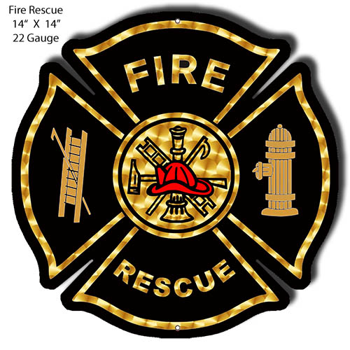 Fire Rescue Laser Cut Out Wall Art Metal Sign 14x14