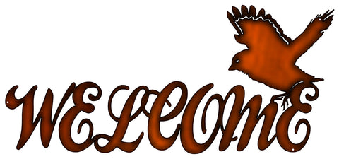 Welcome Laser Cut Out Faux Copper Finish Metal Sign 11x24