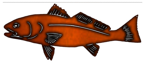 Fish Laser Cut Out Faux Copper Finish Metal Sign 10x23