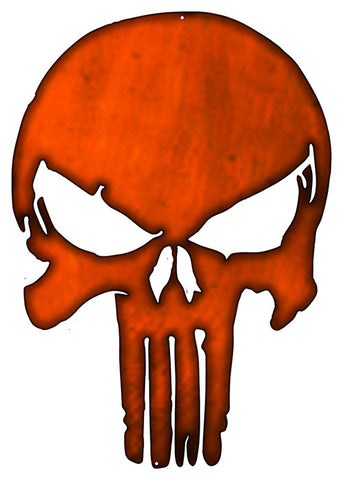 Skull Laser Cut Out Faux Copper Finish Metal Sign 14x20