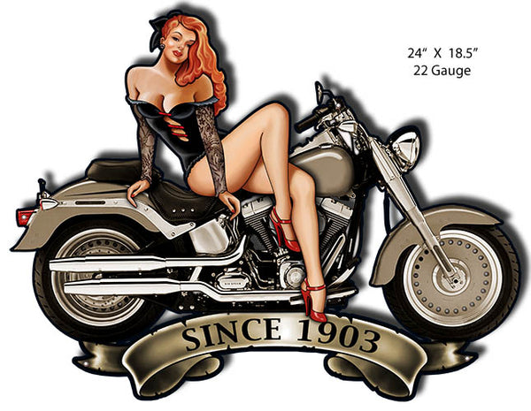 Pin Up Girl Motorcycle Cut Out Metal Sign By Steve McDonald 18.5x24