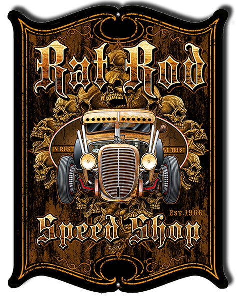 Hot Rod Rat Rod Cut Out Metal Sign By Steve McDonald 14x18