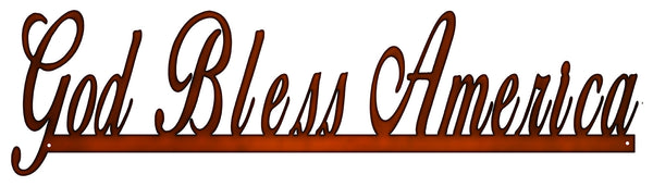 God Bless America Cut Out Faux Copper Finish Metal Sign 7x23.5