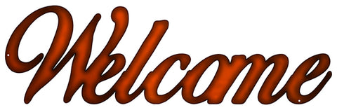 Welcome Laser Cut Out Faux Copper Finish Metal Sign 7.5x23.5