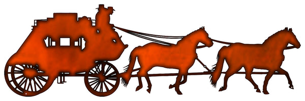 Horse Drawn Carriage Cut Out Faux Copper Finish Metal Sign 11x35