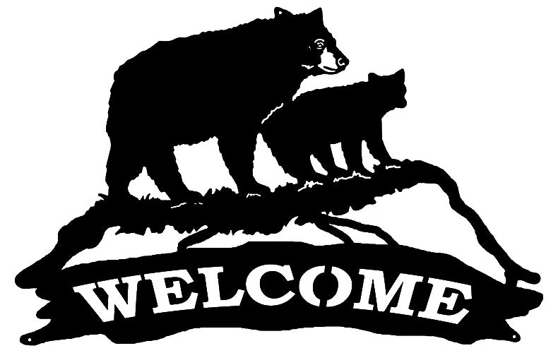 Welcome Bear Laser Cut Out Wall Décor Silhouette Metal Sign 15x23.5