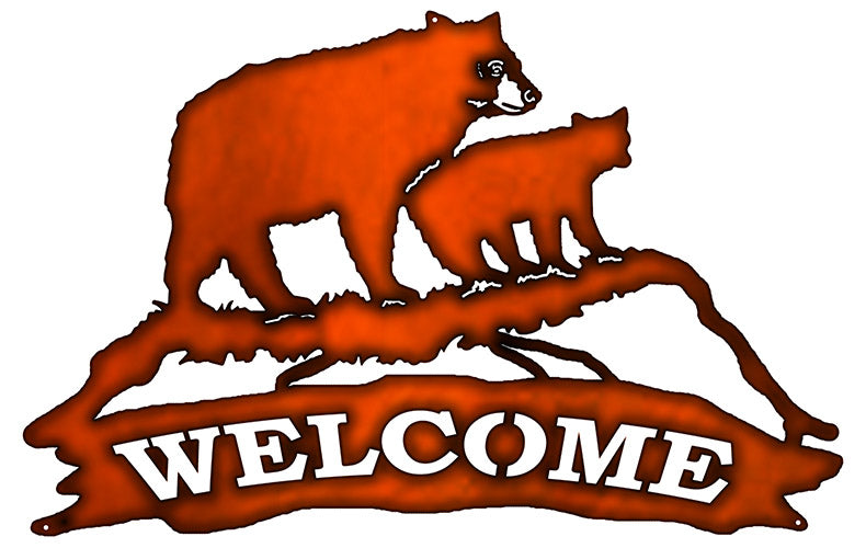 Welcome Bear Laser Cut Out Faux Copper Finish Metal Sign 15x23.5