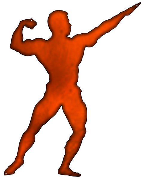 Body Builder Man Cut Out Faux Copper Finish Metal Sign 18x23