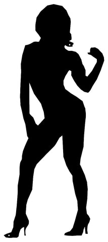 Female Body Builder Cut Out Wall Décor Silhouette Metal Sign 10x23