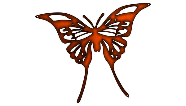 Butterfly Laser Cut Out Faux Copper Finish Metal Sign 15.5x18