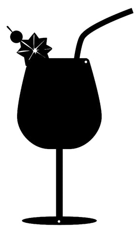 Cocktail Beverage Cut Out Wall Décor Silhouette Metal Sign 7x12