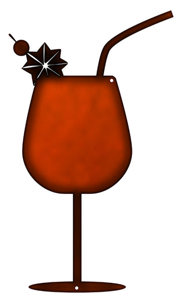 Cocktail Beverage Laser Cut Out Faux Copper Finish Metal Sign 7x12