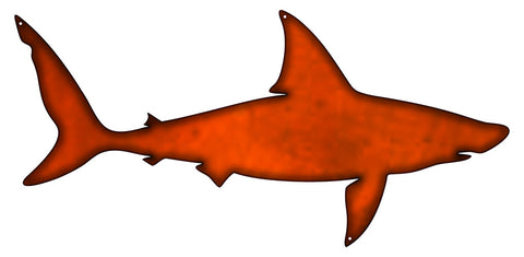 Shark Laser Cut Out Faux Copper Finish Metal Sign 11x23.5