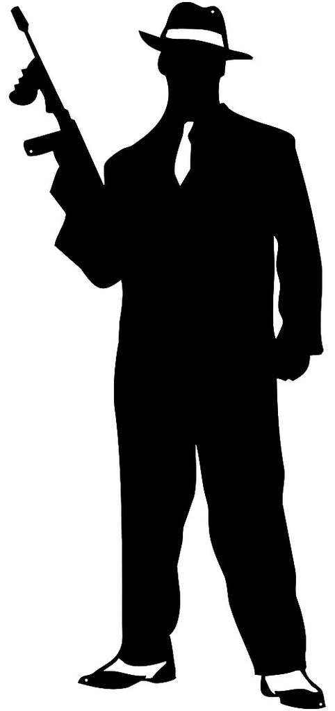Gangster Man Cut Out Wall Décor Silhouette Metal Sign 15x34