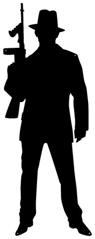 Gangster Guy Cut Out Wall Décor Silhouette Metal Sign 13x34
