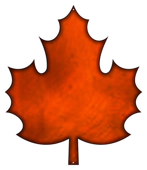 Leaf Laser Cut Out Faux Copper Finish Metal Sign 15x17.5
