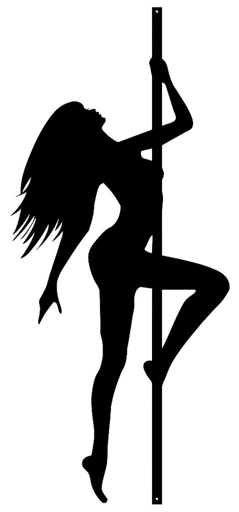 Stripper Pole Girl Laser Cut Out Wall Décor Silhouette Metal Sign 13x29