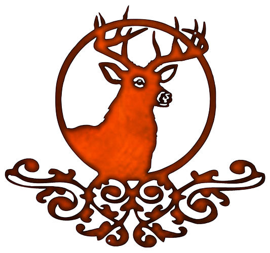 Deer With Filigree Cut Out Faux Copper Finish Metal Sign 22x24