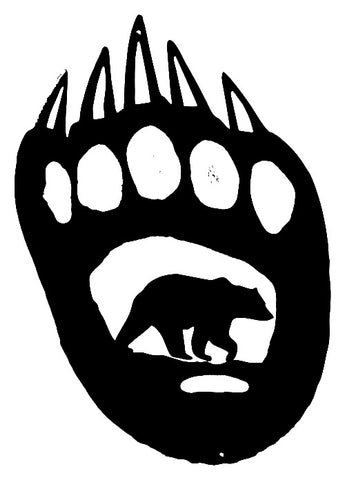 Bear Paw Laser Cut Out Wall Décor Silhouette Metal Sign 10.5x15