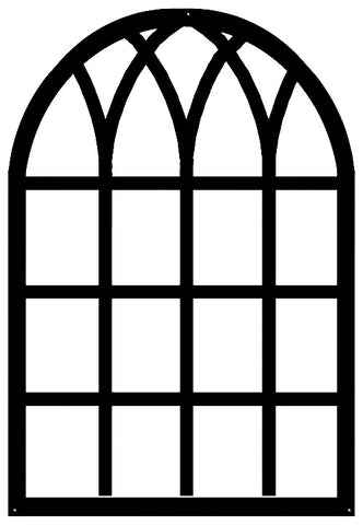 Windowpane Laser Cut Out Wall Décor Silhouette Metal Sign 22.5x33