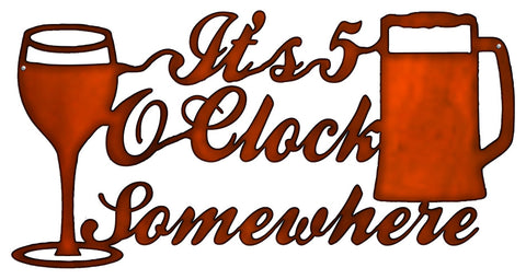 5 O clock Cocktail Cut Out Faux Copper Finish Metal Sign 12x22.5