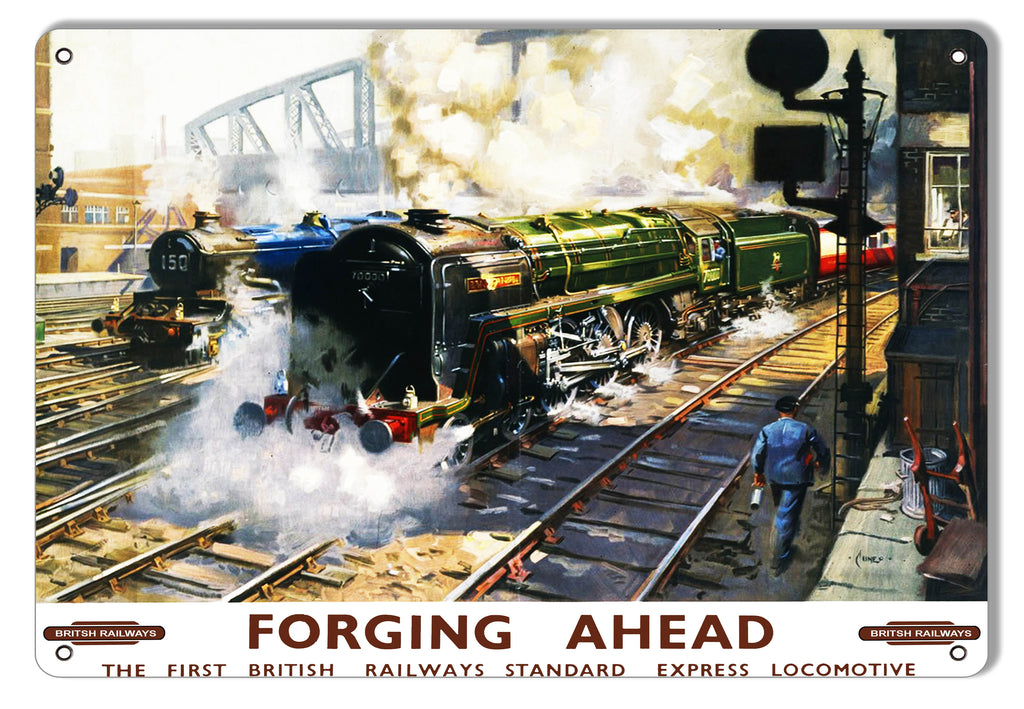 Forging Ahead Railways Reproduction Railroad Metal Sign 9x12