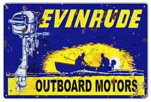 Evinrude Outboard Motors Large Hunting Fishing Metal Sign 16x24