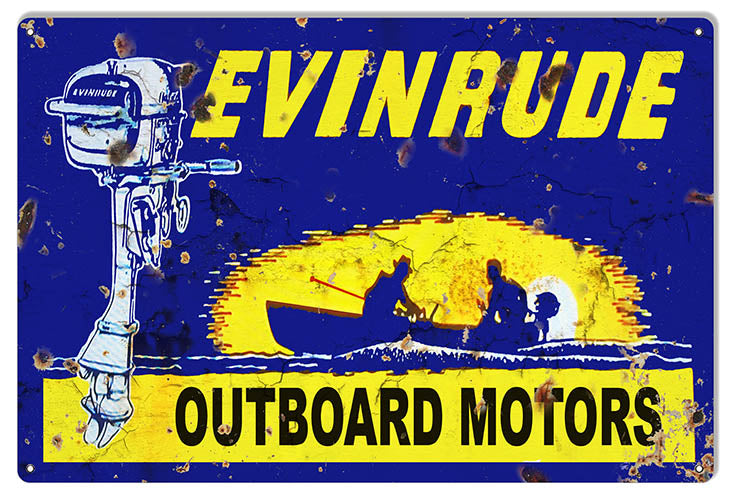 Evinrude Motors Garage Art Hunting And Fishing Metal Sign 12x18