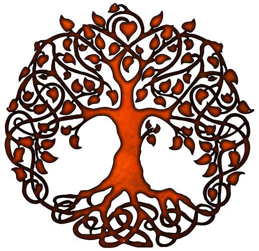 Tree Of Life Cut Out Faux Copper Finish Metal Sign 29x29.5