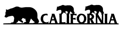 California Bears Cut Out Wall Décor Silhouette Metal Sign 2.5x14