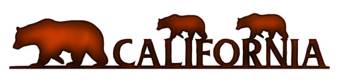 California Bears Cut Out Faux Copper Finish Metal Sign 2.5x14