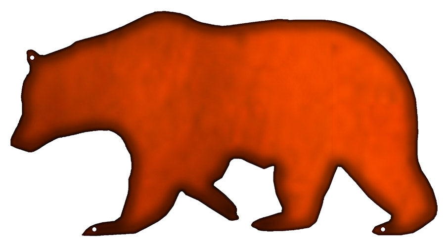 Bear Laser Cut Out Faux Copper Finish Metal Sign 7.5x14