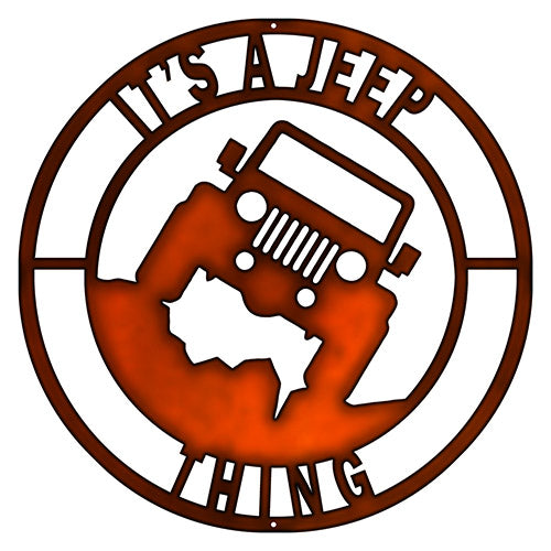 Its A Jeep Thing Cut Out Faux Copper Finish Metal Sign 14x14
