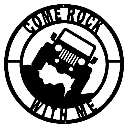 Come Rock Jeep Cut Out Wall Art Silhouette Metal Sign 14x14