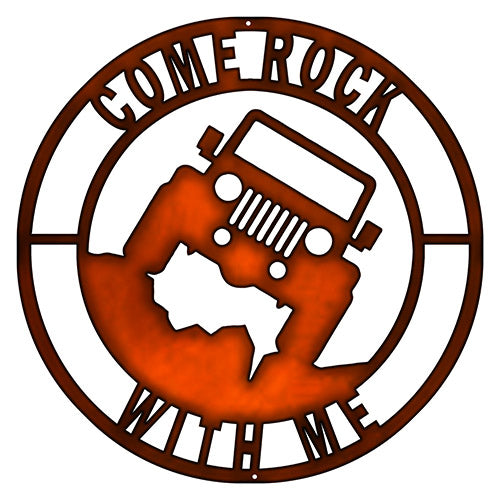 Come Rock Jeep Cut Out Faux Copper Finish Metal Sign 14x14