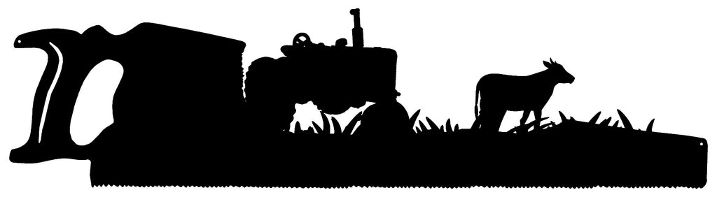 Saw Farm Laser Cut Out Wall Art Silhouette Metal Sign 9x33.5