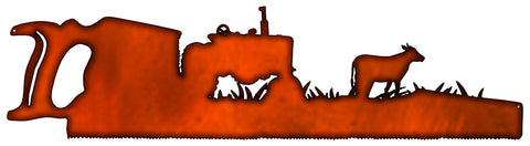 Saw Farm Laser Cut Out Faux Copper Finish Metal Sign 9x33.5