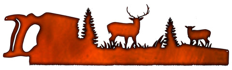 Forest Saw Laser Cut Out Faux Copper Finish Metal Sign 9.5x33.5