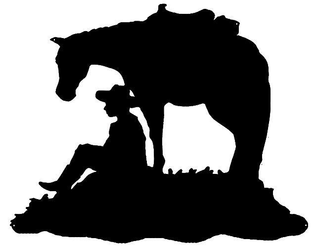 Cowboy And Horse Cut Out Wall Art Silhouette Metal Sign 24x29.5