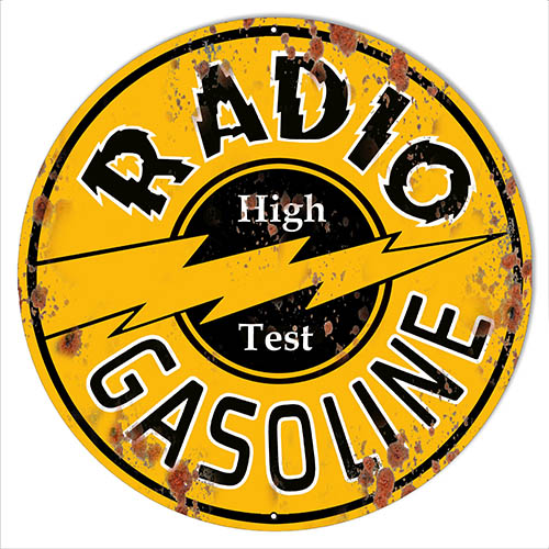 "Radio Gasoline Reproduction Large Vintage Motor Oil Metal Sign 19""x19"""