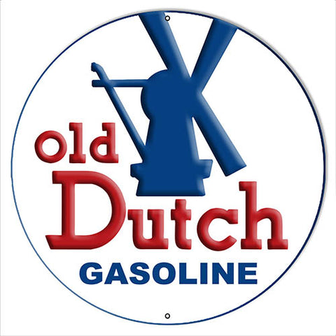 Gasoline Old Dutch Reproduction Large  Motor Oil Metal Sign 16x16