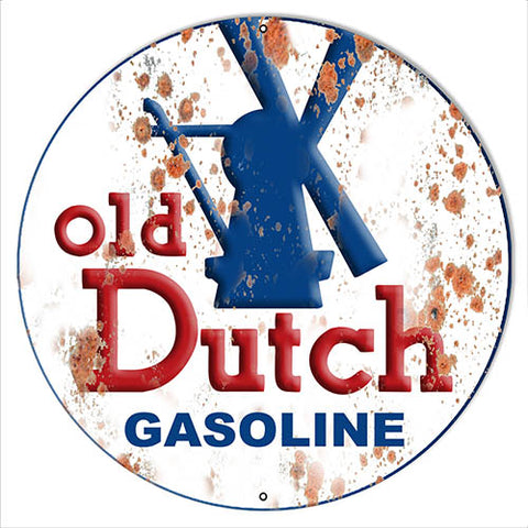 Old Dutch Gasoline Reproduction Large Vintage Metal Sign 19x19