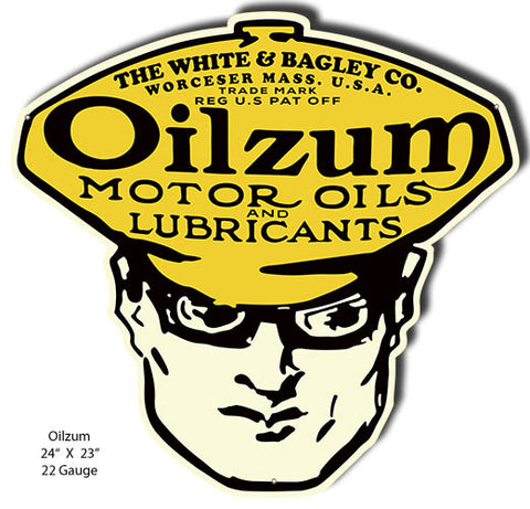 Oilzum Cut Out Motor Oil Reproduction Man Cave Metal Sign 23x24
