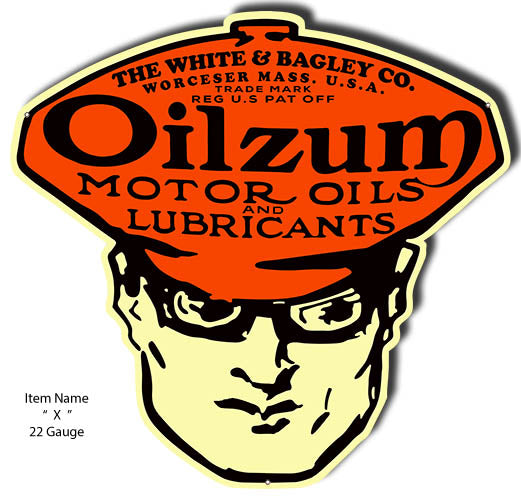 Motor Oil Oilzum Cut Out Garage Shop Reproduction Metal Sign 23x24