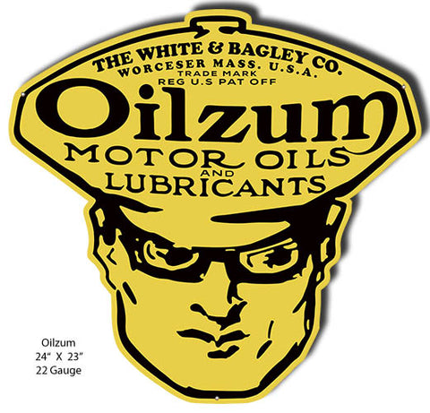 Oilzum Motor Oil Reproduction Garage Art Cut Out Metal Sign 23x24