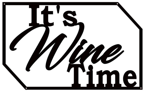 Wine Time Laser Cut Out Wall Decor Silhouette Metal Sign 15x23.5