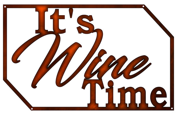 Wine Time Cut Out Wall Decor Faux Copper Finish Metal Sign 15x23.5