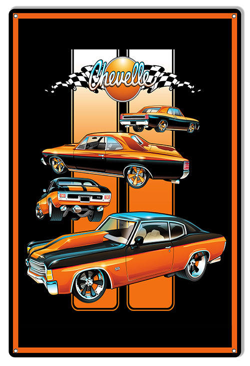 Chevelle Hot Rod Garage Shop Metal Sign By Bernard Oliver 12x18