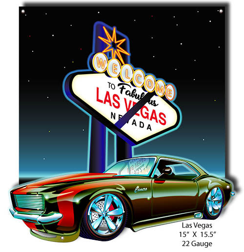 Las Vegas Camaro Cut Out Metal Sign By Bernard Oliver 15x15.5